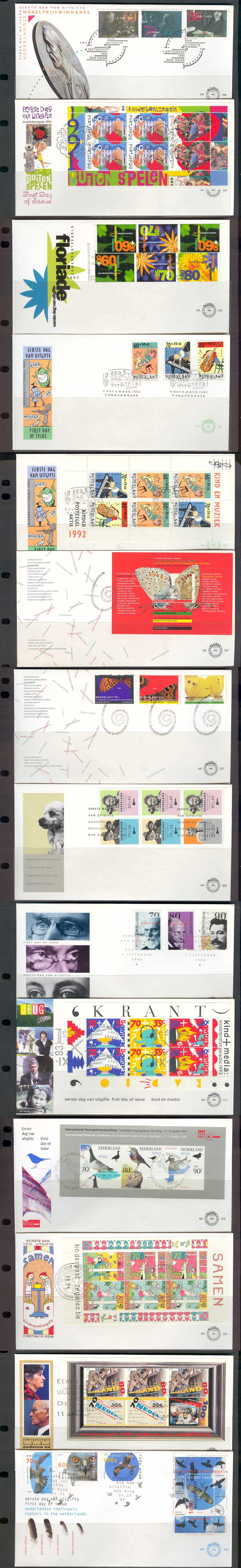 Netherlands 1991-95 cachtd unadd FD 5 sets 10 ss